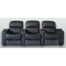 Leather 3 Seater Theatre Lounge Push Back Recliner