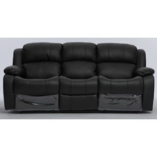 Kacey Black Leather 3 Seater Recliner Sofa