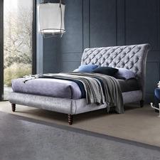 Silver Grey Harvie Velvet Queen Bed Frame