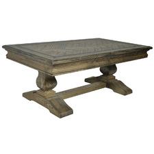 Dark Timber Mosaic Oak Wood Coffee Table