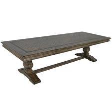 Dark Timber Mosaic Oak Wood Dining Table