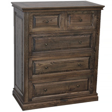 Dark Timber Mosaic Oak Wood Chest of Drawers