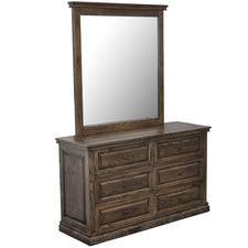 Dark Timber Mosaic Oak Wood Dresser with Mirror