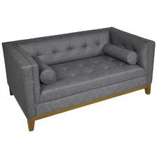 Grey Claudia 2 Seater Faux Leather Sofa