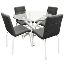 4 Seater Orion Faux Leather Dining Set