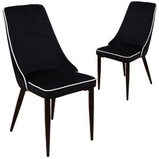 Black Carina Velvet Dining Chairs (Set of 2)