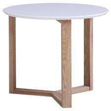 White Aura Round Lamp Table
