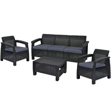 Dark Grey Corfu 5 Seater Lounge & Table Set