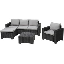 Dark Grey Moorea 4 Seater Lounge & Table Set