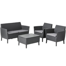 Grey Salemo 4 Seater Lounge & Table Set