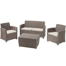 Brown Corona 4 Seater Lounge & Table Set