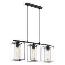 Loncino 3 Light Steel & Glass Pendant