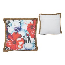 Frangipani Cushion with Wide Jute Piping (Set of 2)