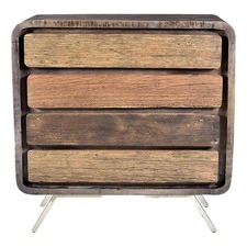 Grey Wood 4 Drawer Dresser