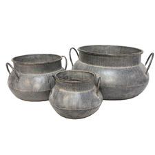 Reshmi Beaten Metal Pots (Set of 3)