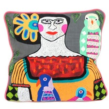 Frida Cushion with Green Parrot (Set of 2)