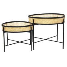 2 Piece Meno Rattan Tray Top Coffee Table Set