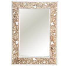 White Wash Palm Wall Mirror