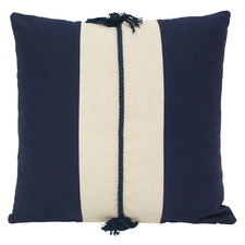 Dark Blue & White Hamptons Reversible Cotton Cushion