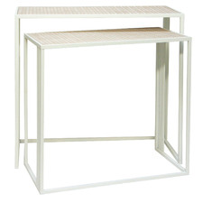 2 Piece White Nesting Console Table Set