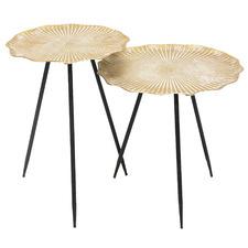 2 Piece Gold Bloom Side Table Set