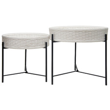 2 Piece White Ruska Rattan Tray Top Coffee Table Set
