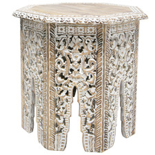 White Wash Gypsy Mango Wood Side Table