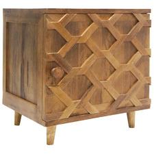 Natural Weave Mango Wood Bedside Table