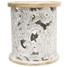 White Wash Fleur Mango Wood Side Table