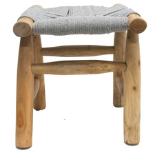 Natural Cotton Rope & Wood Footstool