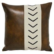 Cena Square Faux Leather & Cotton Cushion