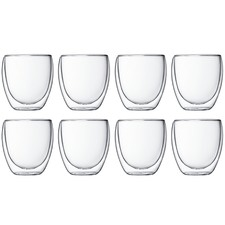 Bodum Pavina 250ml Double Wall Glasses (Set of 8)
