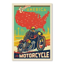 Explore America by Motorcycle Printed Wall Art