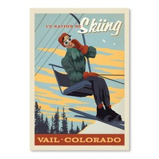 Id Rather Be Skiing Printed Wall Art