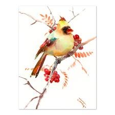 Cardinal Bird & Berries Printed Wall Art