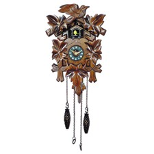 Traditional Cuckoo Clock with Leaves and Bird