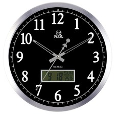 35cm Silver & Black LCD Wall Clock