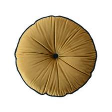 Mustard Round Velvet Cushion