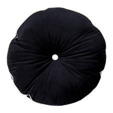 Midnight Black Velvet Circle Cushion