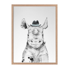 Remus Rhinoceros Framed Printed Wall Art