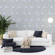 Powder Blue Banksia Mono Peel & Stick Wallpaper