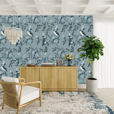 Teal Kookaburra Peel & Stick Wallpaper