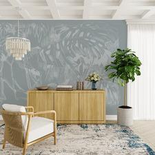 Powder Blue Pandan Sketch Peel & Stick Wallpaper