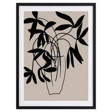 Beige Etchings II Framed Printed Wall Art