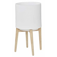Oasis White Planter Pot on Stand (Set of 2)