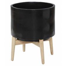 Oasis Black Planter Pot on Stand (Set of 2)