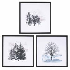 3 Assorted Winter Tree Wall Decor
