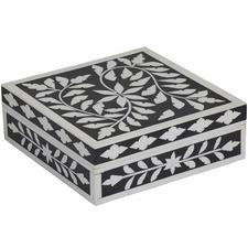 Black & White Ramani Resin Deco Boxes (Set of 2)