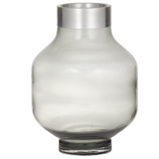 30cm Grey Denton Glass & Metal Vases (Set of 2)