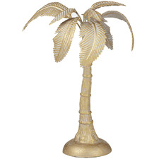 Small Gold Standing Palm Metal Sculpture
